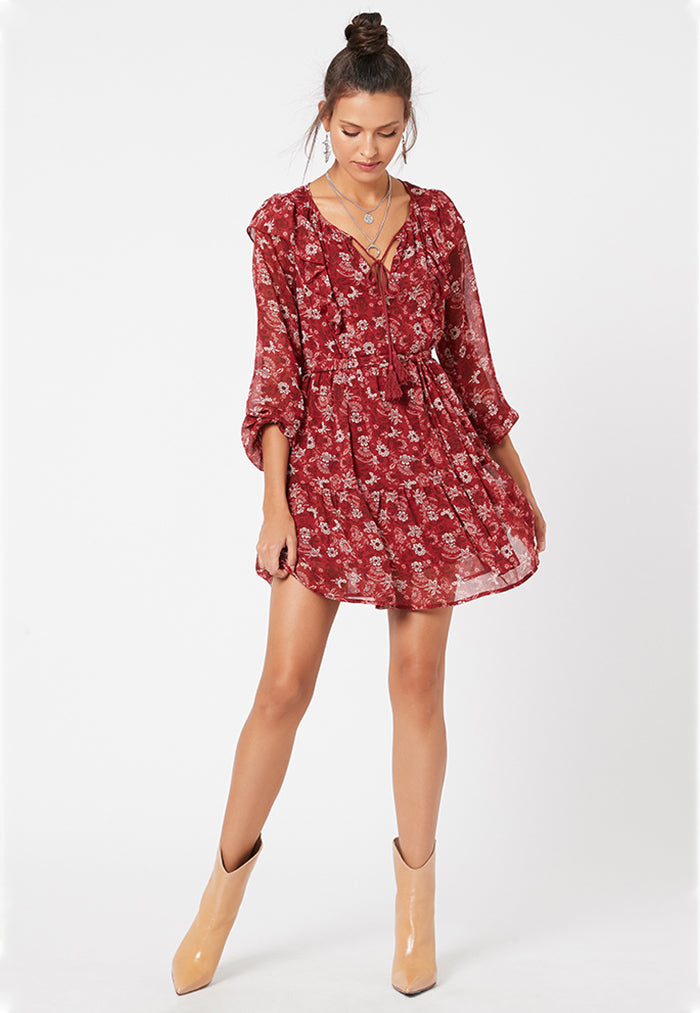red floral short dress with ruffles