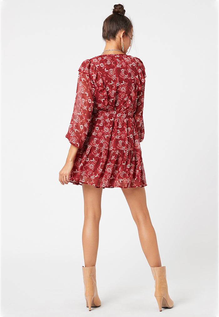 minkpink short tiered dress with red floral dress