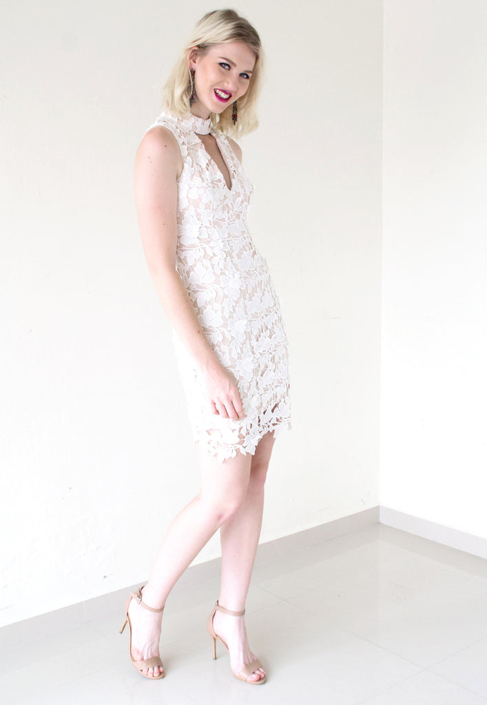 cream cut out lace dress