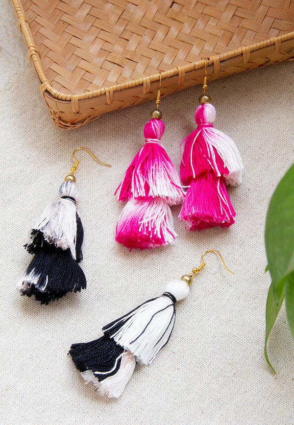 Just Gaya's 2 Tier Tassel Earrings - Mutlicolour