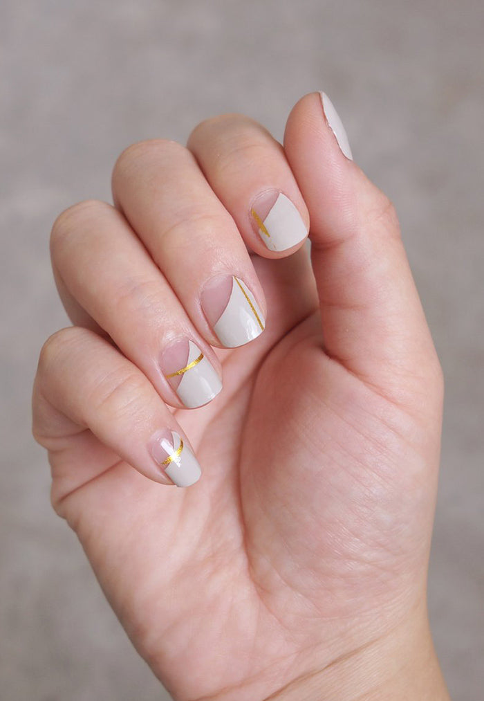 pink gold white nail sticker