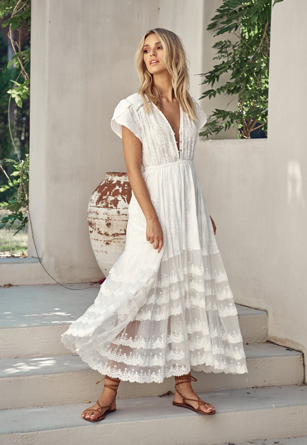 Pandora Lace Tiered Maxi Dress