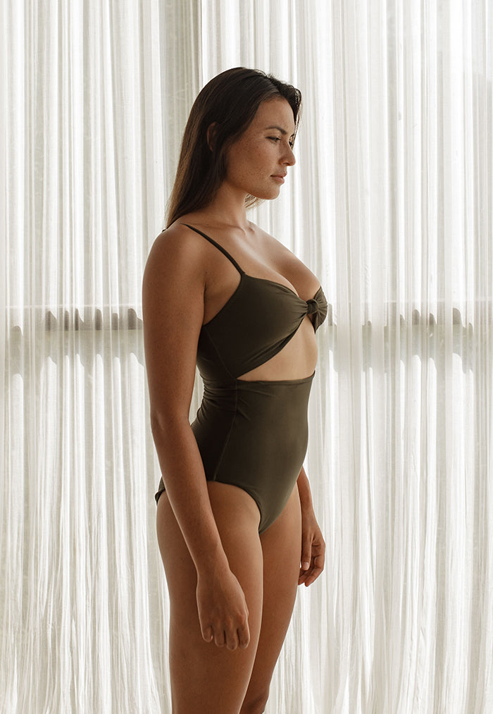 dark green one piece swimwear