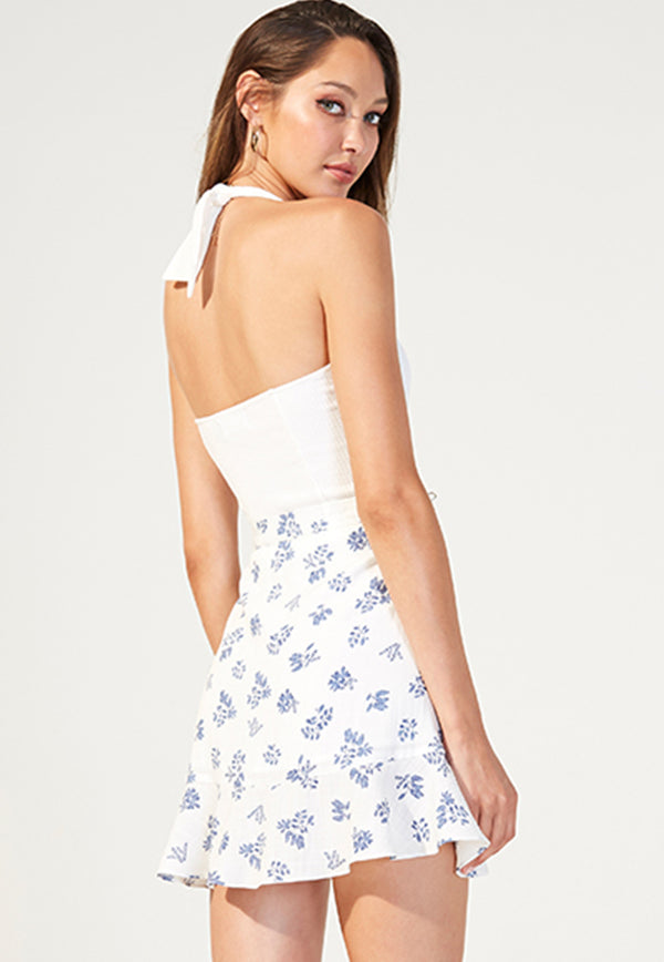 MINKPINK Petula Cropped Halter Top - White