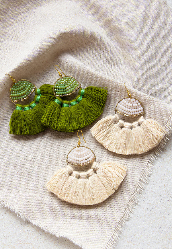 Just Gaya's Round Beaded Tassel Earrings
