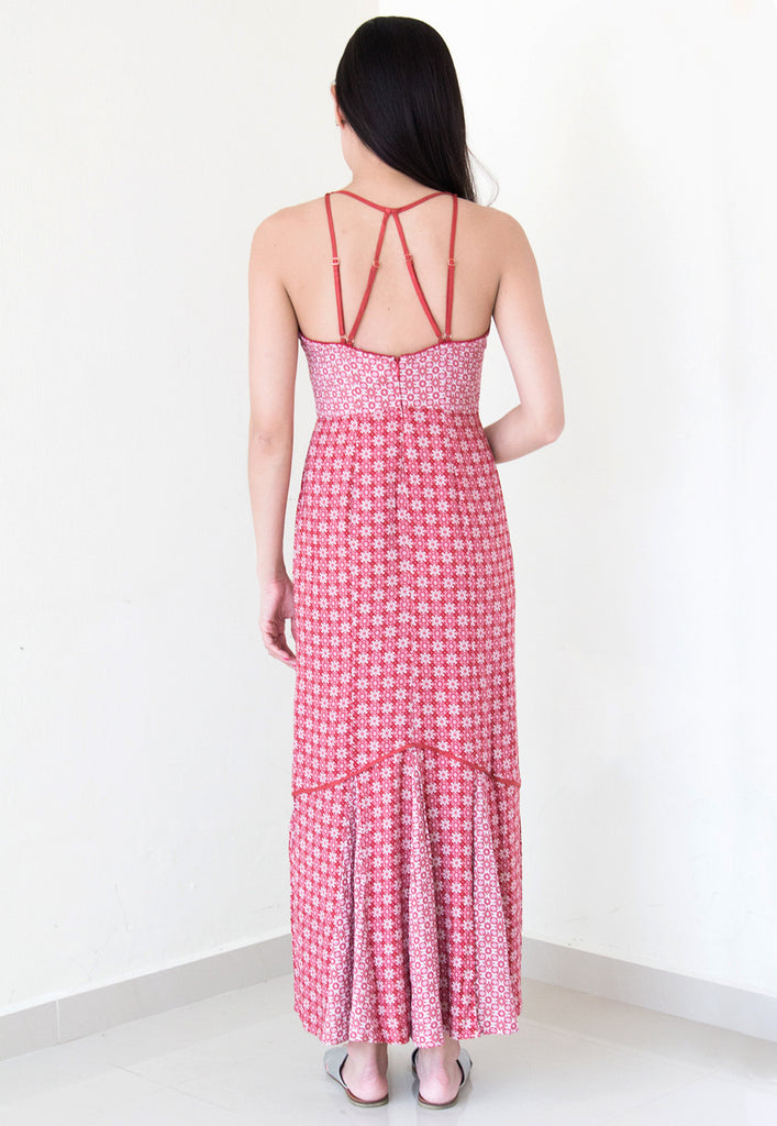 red crossback strap maxi dress from somedays lovin