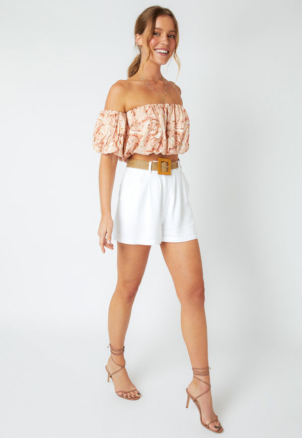 MINKPINK South Coast Palm Bardot Top