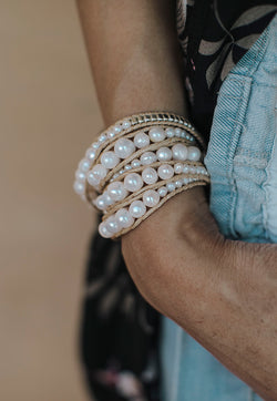 Embrace Jewellery It's A Wrap Bracelet - Pearl