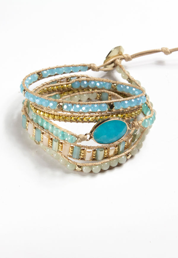 Embrace Jewellery It's A Wrap Bracelet - Aquamarine