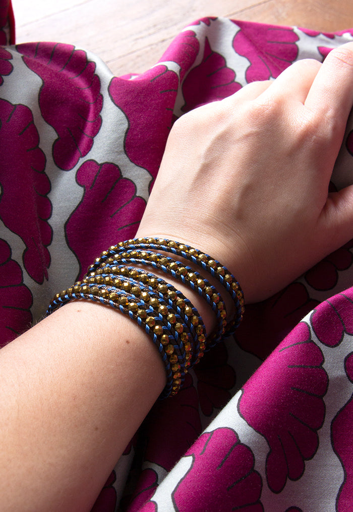 Embrace Jewellery It's A Wrap Bracelet - Navy Gold