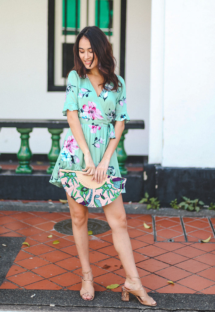 Zola Ruffle Wrap Dress - Pistachio