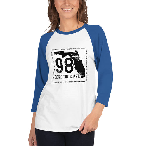Women's 3/4 Length Seize the Coast (98) Baseball Tee