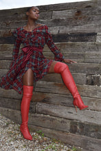 Load image into Gallery viewer, RUFFLE PLAID DRESS