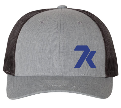 Heather Grey Snapback Hat with Blue Stitched 7k Logo