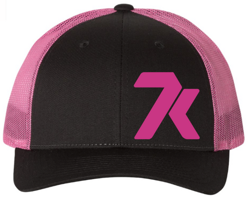 Black/Neon Pink Snapback Hat with Pink Stitched 7k Logo