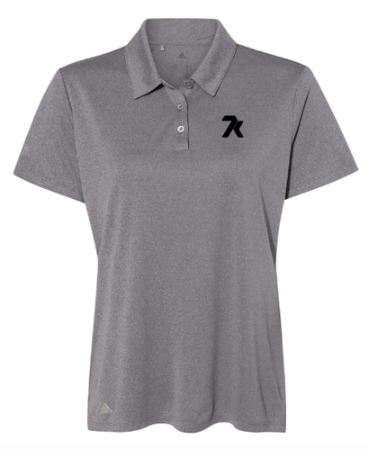 Women's Heather Grey Adidas Polo with Black Printed 7k Logo