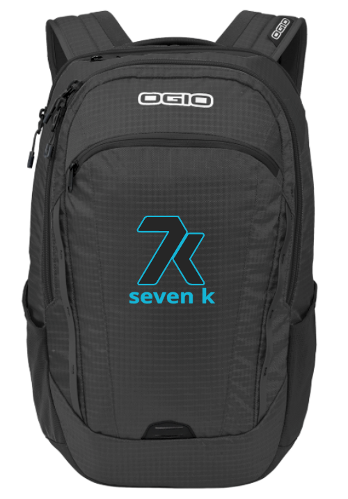 Black OGIO Backpack with Blue and Black Stitched 7k Logo