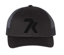 Load image into Gallery viewer, Black Snapback Hat with Black Stitched 7k Logo