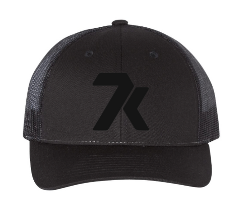 Black Snapback Hat with Black Stitched 7k Logo