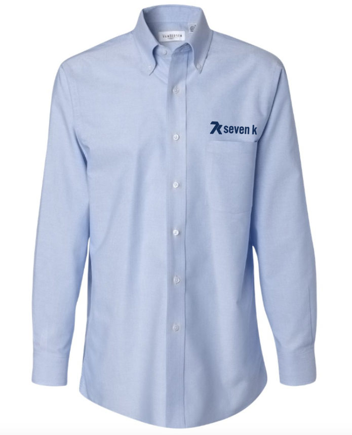 Men's Light Blue Van Heusen - Long Sleeve Oxford Shirt with Navy Embroidered 7k Logo
