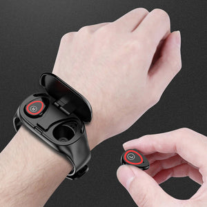 Wav Smartwatch with Built-In Wireless Bluetooth Earbuds