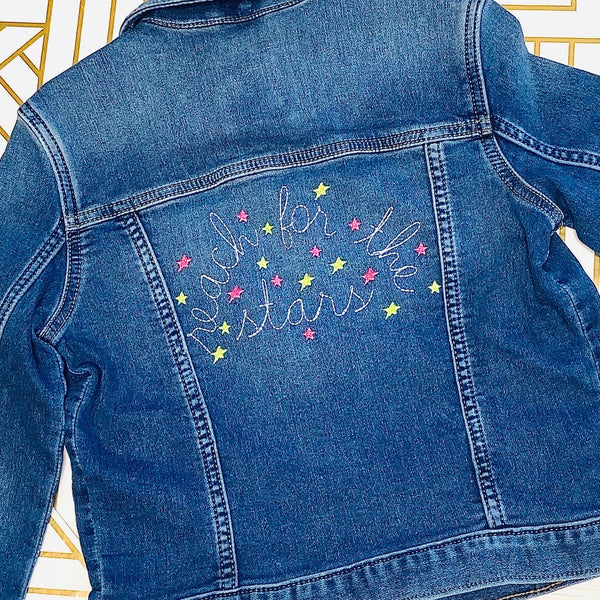 "Embroidered Jean Jacket ""Reach for the Stars"""