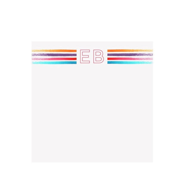 Bright Stripes Turquoise Initial Notepad