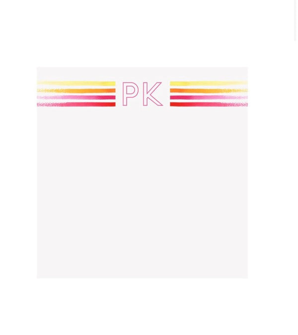 Bright Stripes Pink Initial Notepad