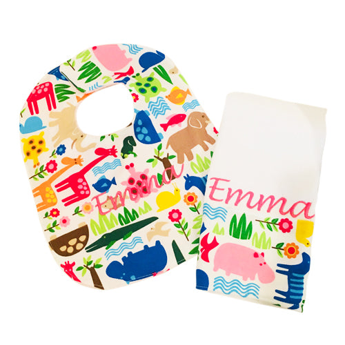 Bib & Burp Cloth Set Wiggle + Scoot