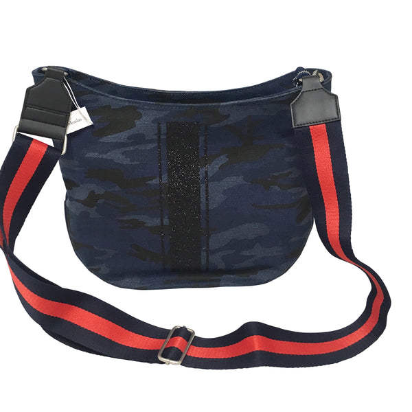 City Bag in Navy Camo with Black Glitter Stripe (or Monogram Stripe) & Navy/ Red Guitar Strap