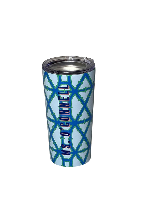 Blue Trellis Stainless Steel Tumbler by Clairebella