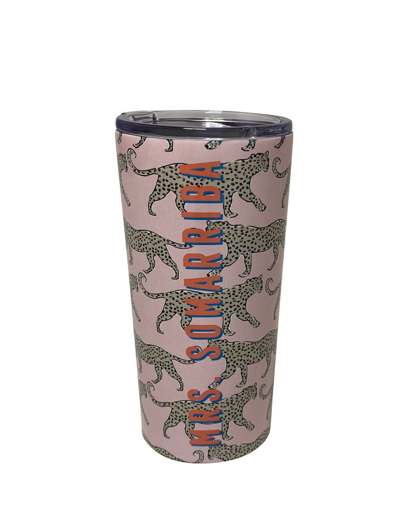 Blush Leopard Stainless Steel Tumbler by Clairebella