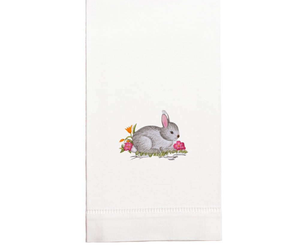 Hand Embroidered Bunny Towel