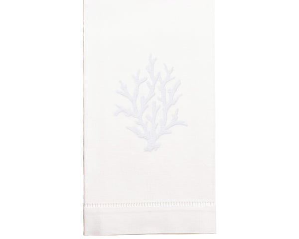 Hand Embroidered White Coral Towel