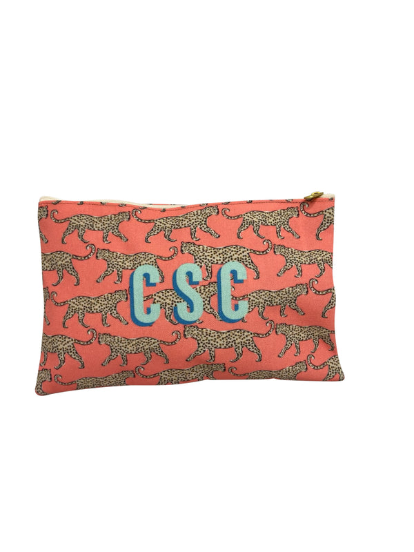 Coral Leopard Flat Zippered Clutches by Clairebella