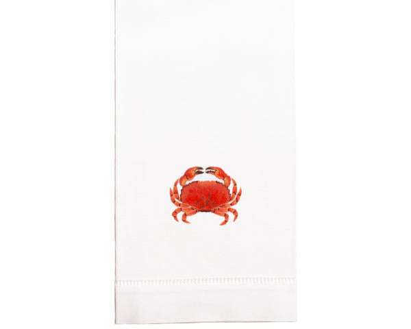 Hand Embroidered Crab Towel