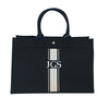 East West Bag in Black with Silver Stripe Monogram