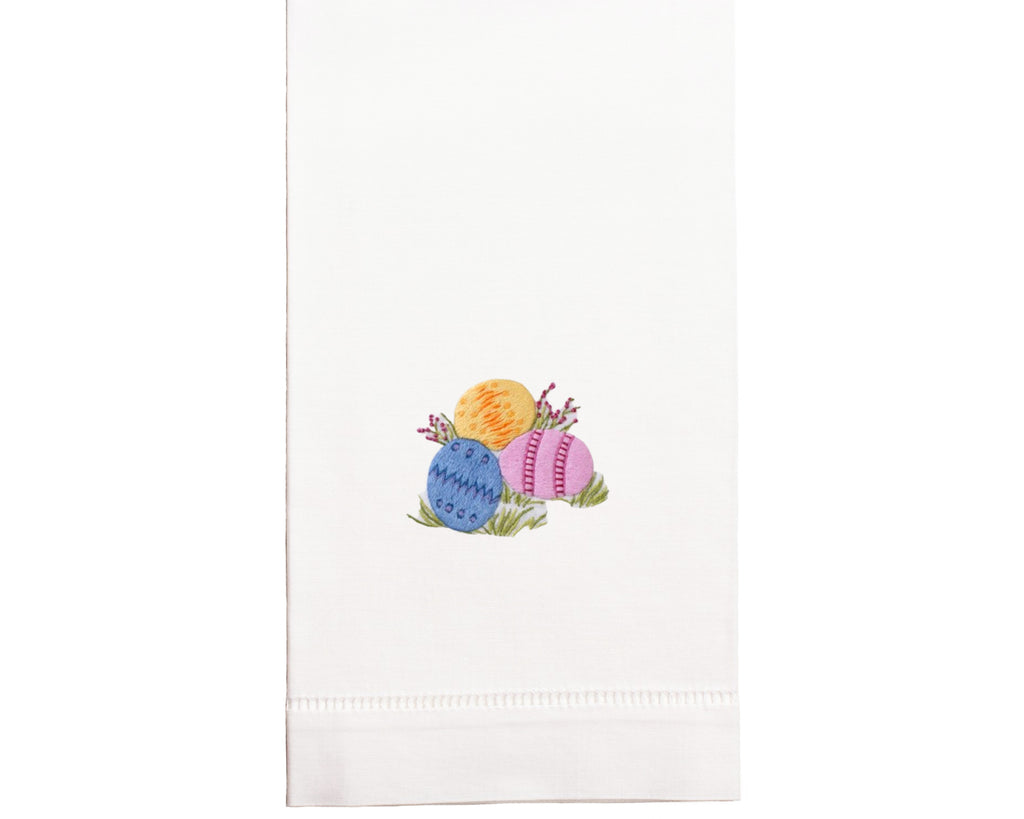 Hand Embroidered Easter Egg Towel