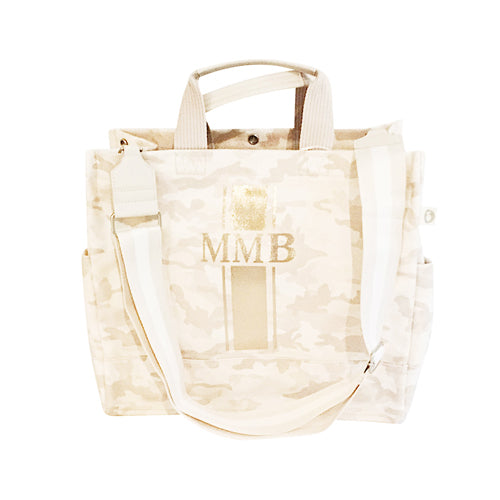 Luxe North South Bag in Blush Camo with Rose Gold Monogram Stripe