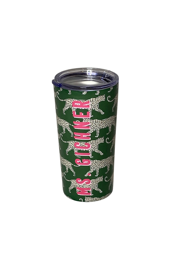 Green Leopard Stainless Steel Tumbler by Clairebella