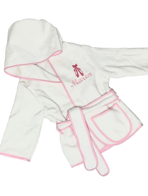Kids Hooded Terry Robe with Ballet Shoes-Pink Trim