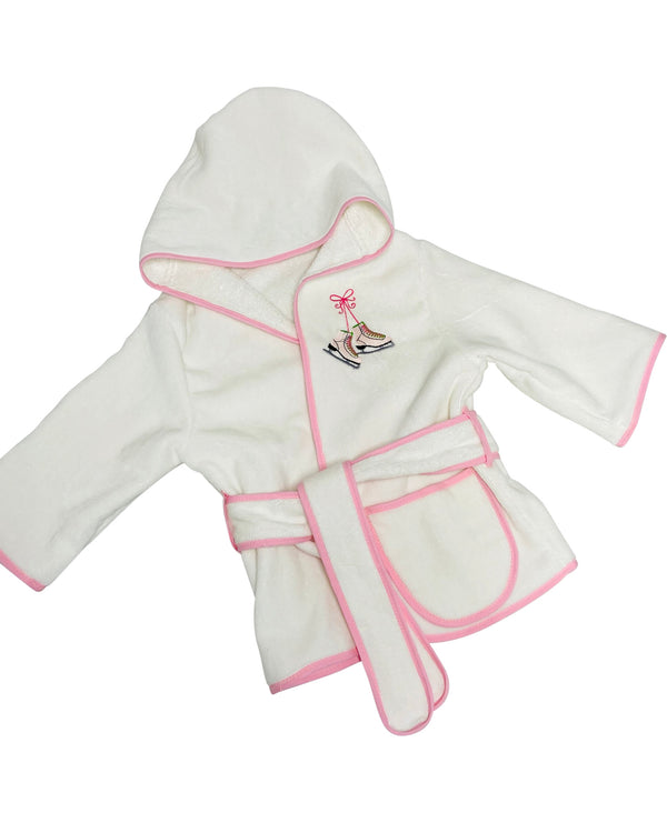 Kids Hooded Terry Robe with Ice Skates-Pink Trim