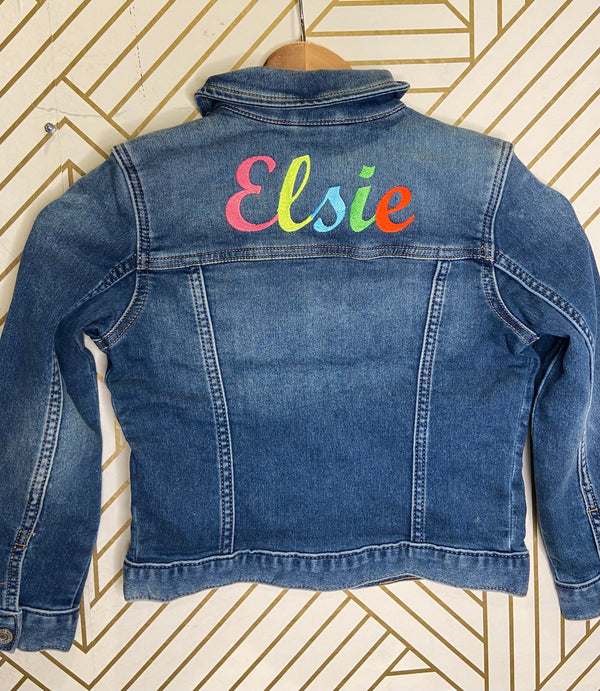 Custom Name Embroidered Jean Jacket for Girls