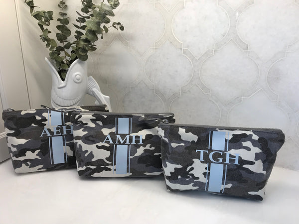 Camo Clutch in Grey with Light Blue Monogram Stripe Wiggle + Scoot Quilted Koala