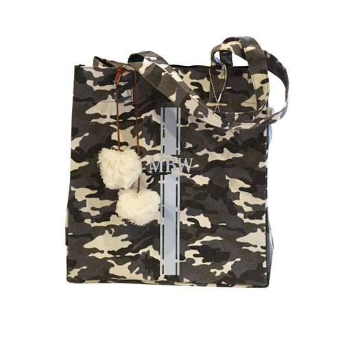 Upright Bag in Grey Camo with Light Blue Monogram Stripe