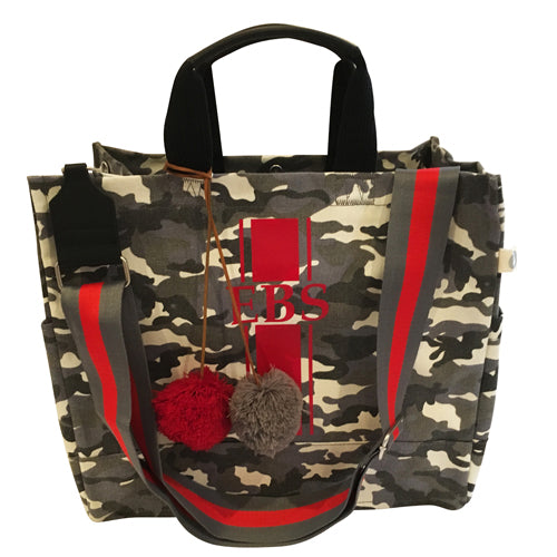 Luxe North South Bag in Grey Camo with Red Monogram Stripe