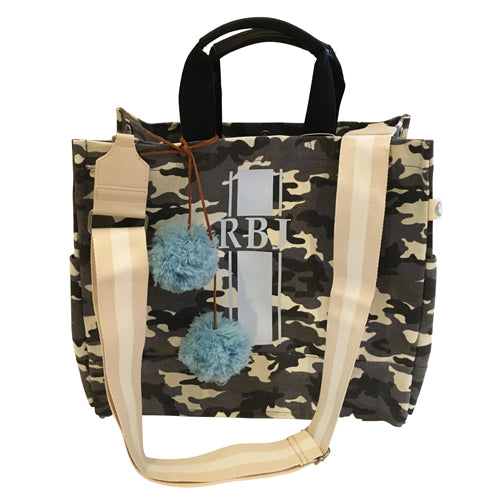 Luxe North South Bag in Grey Camo with Light Blue Monogram Stripe