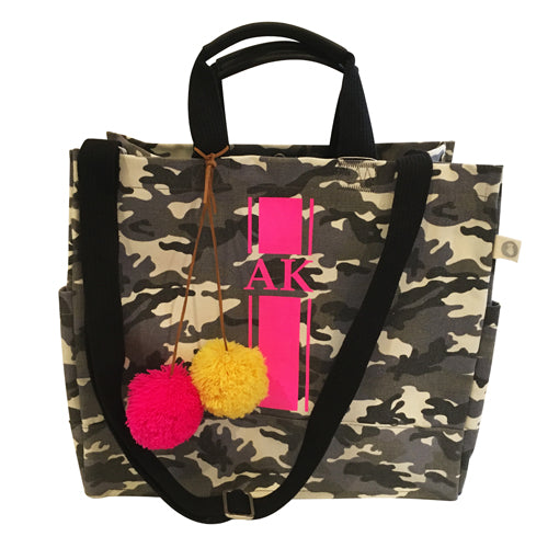 Luxe North South Bag in Grey Camo with Hot Pink Monogram Stripe