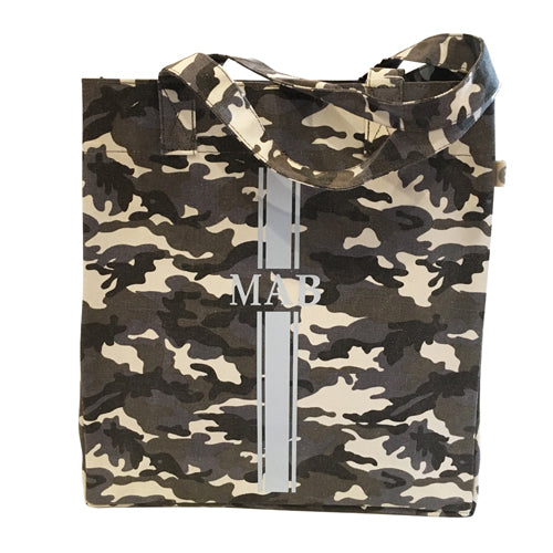 Upright Bag in Grey Camo with Light Blue Monogram Strip