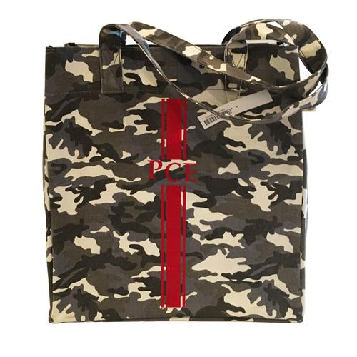 Upright Bag in Grey Camo with Red Monogram Stripe